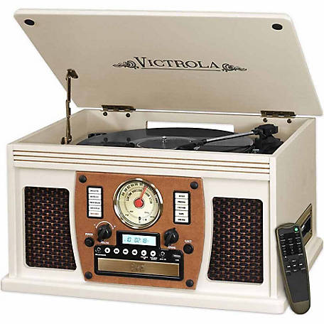 Victrola Wooden 7-in-1 Nostalgic Record Player with Bluetooth and USB Encoding, White