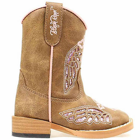 Blazin Roxx Girl's Gracie Wing/Cross Square Toe Toddler Zip Boot