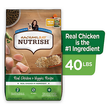 Rachael Ray Nutrish Real Chicken & Veggies Recipe Natural Dry Dog Food, 40 lb.