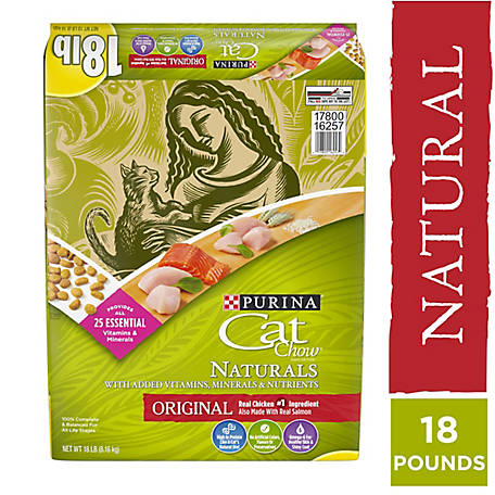 Purina Cat Chow Natural Dry Cat Food; Naturals Origina, 18 lb. Bag
