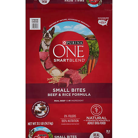 Purina ONE Natural Dry Dog Food; SmartBlend Small Bites Beef & Rice Formula, 31.1 lb. Bag
