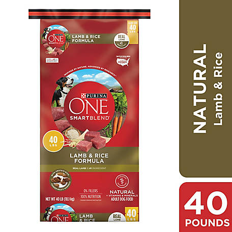 Purina ONE Natural Dry Dog Food, SmartBlend Lamb & Rice Formula, 40 lb. Bag