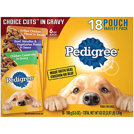 Pedigree Beef & Noodles, Grilled Chicken & Gravy and Chicken Casserole, 3.5 oz. Pouch, Pack of 18