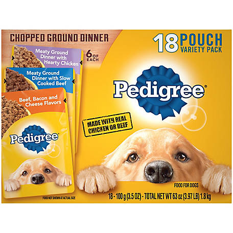 Pedigree Chicken, Beef, Bacon & Cheese, 3.5 oz. Pouch, Pack of 18