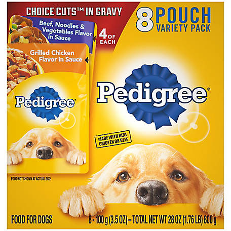Pedigree Grilled Chicken in Gravy and Beef & Noodles, 3.5 oz. Pouch, Pack of 8P