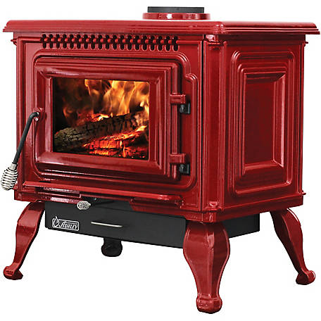 Ashley Wood Red Enameled Porcelain Cast Iron Freestanding 2,000 sq. ft. Stove, AWC31R