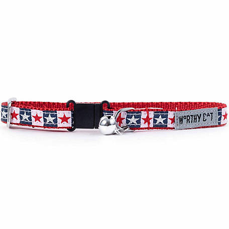 The Worthy Dog Stars and Stripes Cat Collar