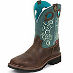 Tony Lama Women's Saddleback Brown 3R Work Waterproof Composition Toe Work Boot with Turquoise Top
