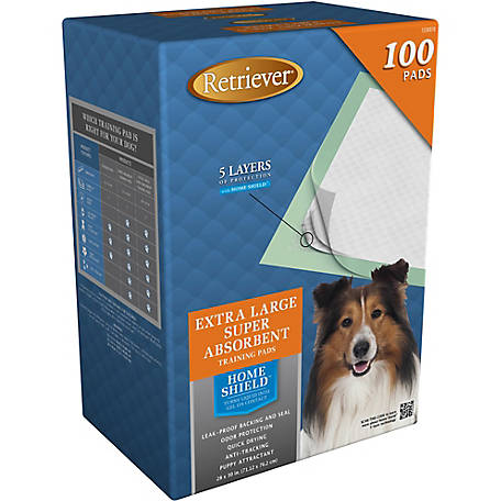 Retriever Extra Large Super Absorbent Pet Training and Puppy Pads, Pack of 100