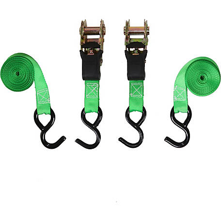 SmartStraps 6 ft. 1500 lb. Padded Ratchet Tie-Down 2-Pack, Green