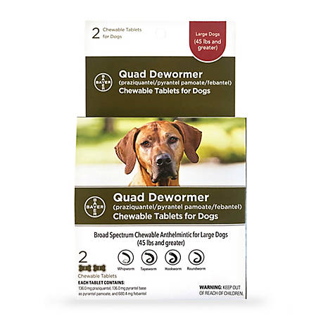 Bayer Quad Dewormer, 136 mg Large Dogs
