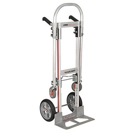 Magliner Gemini Jr. Convertible Hand Truck, 10 in. Interlocking Polyurethane Wheels, 500 lb./1,000 lb. Capacity, GMK16UAG
