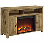 Ameriwood Home Farmington Electric Fireplace TV Console for TVs up to 50 in., Light Rustic Pine