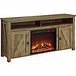 Ameriwood Home Farmington Electric Fireplace TV Console for TVs up to 60 in., Light Rustic Pine