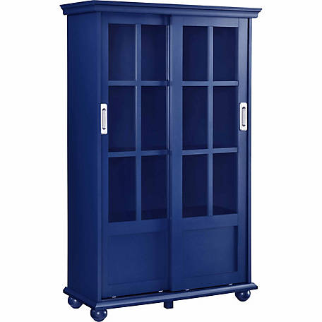 Ameriwood Home Aaron Lane Bookcase With Sliding Glass Doors Blue At
