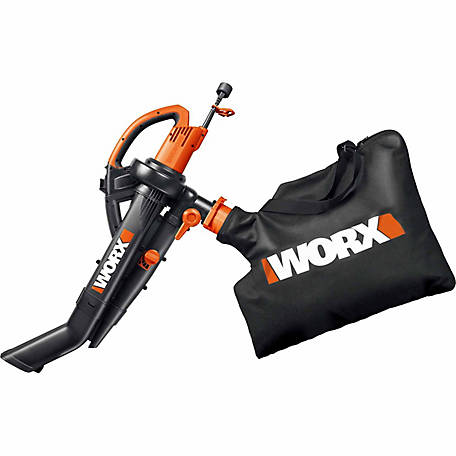 WORX Electric TriVac Blower/Mulcher/Vac, 12A, 210 MPH, 350 CFM, Metal Impeller, Instant Empty Bag, Single Lever Conversion