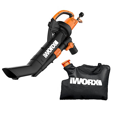 WORX Electric TriVac Blower/Mulcher/Vac with 2-Stage Mulching System, 12A, 210 MPH, 350 CFM,