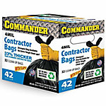 Commander 42-Gallon Contractor Bags with Flaps, 4 mil, Pack of 32