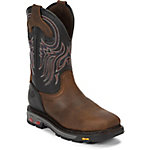 Justin Original Work Boots Men's Reddish Waxy Milled Buffalo Steel Toe Commander-X5 Work Boot