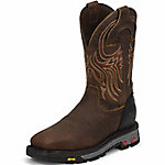 Justin Original Work Boots Men's Waterproof Tumbled Mahogany Square Steel Toe Pull-On Commander-X5 Work Boot