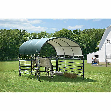 ShelterLogic 12 ft. x 12 ft. Corral Shelter, Powder Coated 1-5/8 in. Steel Frame, 9 oz. Green PE