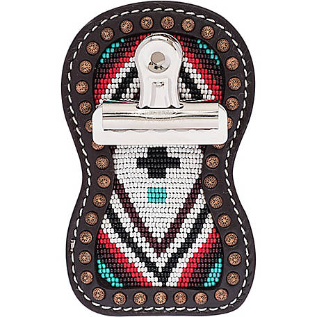 Weaver Leather Show Number Holder with Clip, Turquoise Cross Beading with Brown Leather