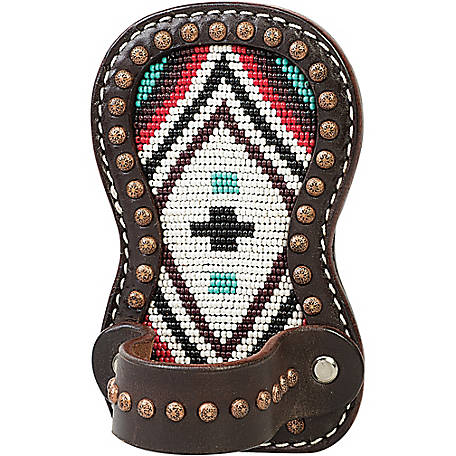 Weaver Leather Show Comb Holder, Turquoise Cross Beading with Brown Leather
