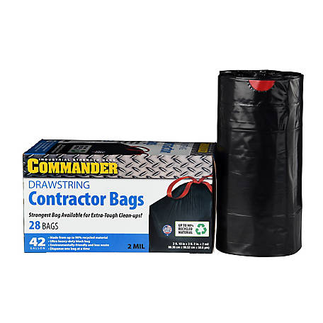 Commander Drawstring 42-Gallon Contractor Bags, 2 mil, Pack of 28