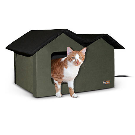 K&H Pet Products Outdoor Heated Kitty House, Extra-Wide