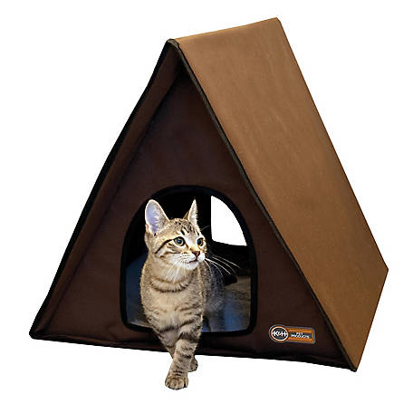 K&H Pet Products Outdoor Unheated Multi-Kitty A-Frame, Chocolate