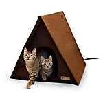K&H Pet Products Outdoor Heated Multi-Kitty A-Frame, Chocolate