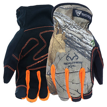 West Chester High Dexterity Slip On Winter Glove w/Realtree Xtra Camouflage Pattern, Orange Fourchettes
