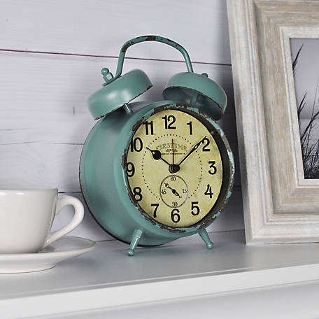 FirsTime Teal Double Bell Wall Clock