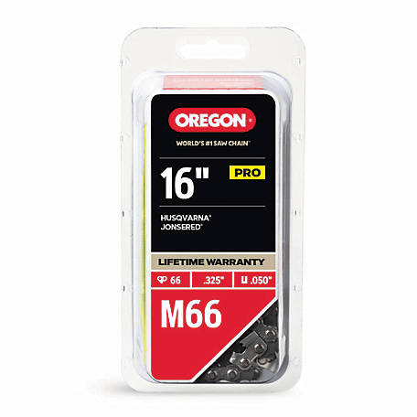 Oregon 16 in. Bar Saw Chain, 0.325 Pitch, 0.050 Gauge, Use 3/16 in. File, 66 Drive Links
