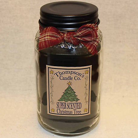 Thompson's Candle Super Scented Christmas Tree 25 oz. Mason Jar Candle, CTLM