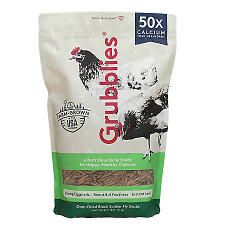 Grubbly Farms 1lb Grubblies - A Nutritious Daily Snack for Happy, Heathy Chickens, GRUBBLIES 1lb.