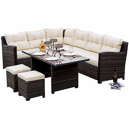 Festival Depot Hermosa All Weather Wicker Sofa Sectional Patio Dining Set  at Tractor Supply Co.