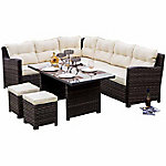 Festival Depot Hermosa All Weather Wicker Sofa Sectional Patio Dining Set