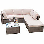 Festival Depot Isabella Luxury Wicker Sofa Sectional Set