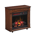 RedStone Chimney Free Rolling Mantel with Infrared Quartz Electric Fireplace, Meridian Cherry