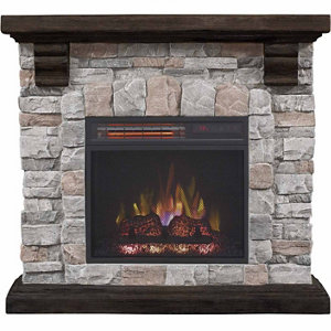 redstone wall fireplace mantel with 18 in infrared quartz electric fireplace brushed dark pine - Electric Fireplace With Mantel