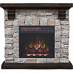 RedStone Wall Fireplace Mantel with 18 in. Infrared Quartz Electric Fireplace, Brushed Dark Pine