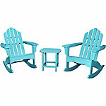 Hanover 3-Piece All-Weather Rocking Adirondack Patio Set, Aruba