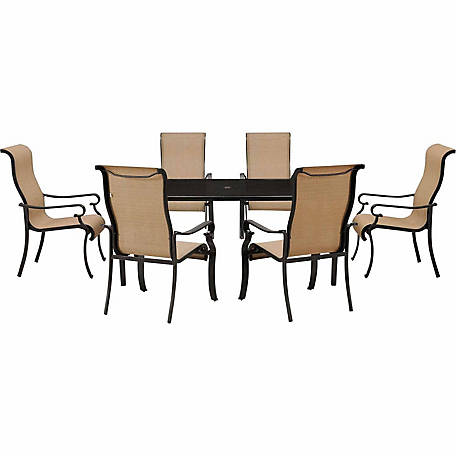 Hanover Brigantine 7-Piece Outdoor Dining Set with Glass Tabletop