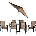 Hanover Brigantine 7-Piece Outdoor Dining Set with Glass Tabletop & 9 ft. Umbrella