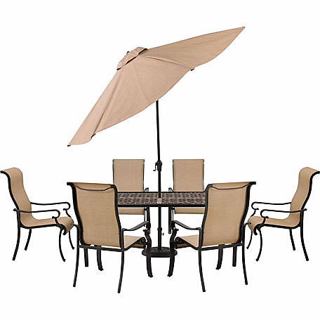 Hanover Brigantine 7-Piece Outdoor Dining Set with Cast-Aluminum Tabletop & 9 ft. Umbrella
