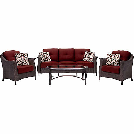 Hanover Gramercy 4-Piece Wicker Patio Seating Set