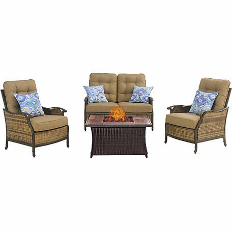 Hanover Hudson Square 4-Piece Lounge Set with a Fire Pit Table, Tan