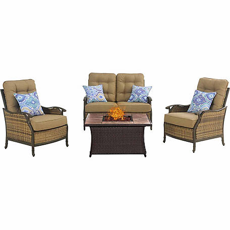 Hanover Hudson Square 4-Piece Lounge Set with a Fire Pit Table