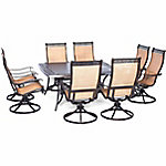 Hanover Manor 9-Piece Outdoor Dining Set with Large Square Table & Eight Swivel Rockers